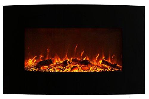 GLOW FIRE Jupiter Curved Elektrokamin, 90 cm breit, Standkamin und Wandkamin mit LED | Künstliches Feuer ohne Heizung | Fernbedienung, Dimmer, Schwarz