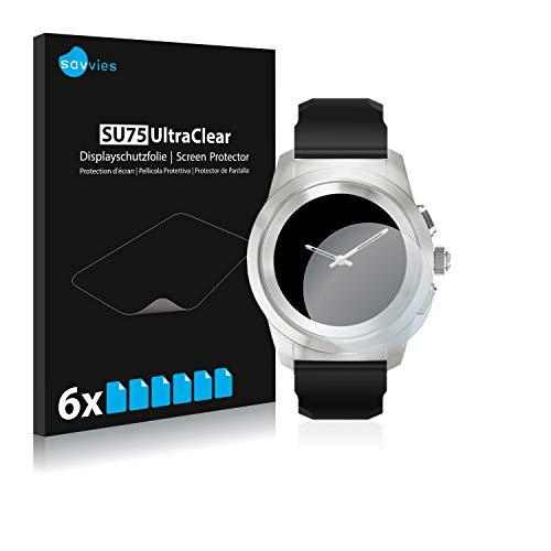 Savvies 6X Schutzfolie kompatibel mit MyKronoz ZeTime Petite (39 mm) Bildschirmschutz-Folie Ultra-transparent