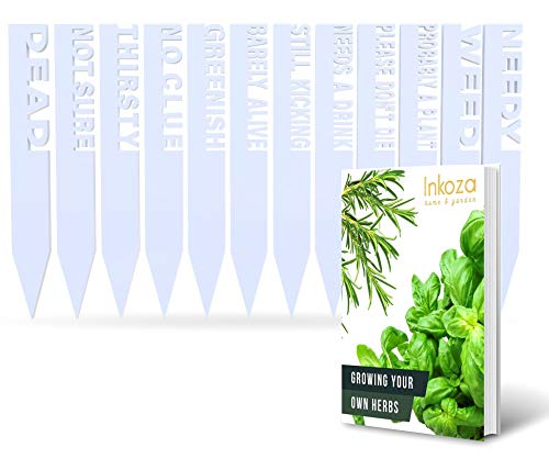 Funny Plant Labels for Indoor Outdoor Garden Waterproof (Set of 12) - for Herbs, Flowers, Vegetables - Acrylic Garden Stakes with A