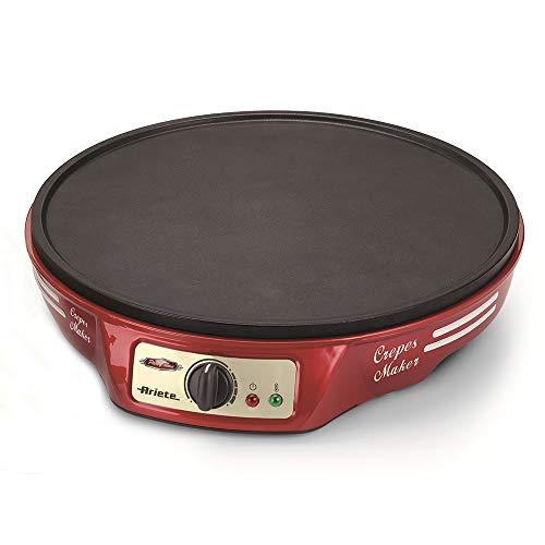 Ariete 183 CREPERA PARTY TIME, 1000 W, termostato regulable, revestimiento antiadherente, 2 espátulas de madera, indicador luminoso encendido, apagado y listo para usar, Negro Rojo