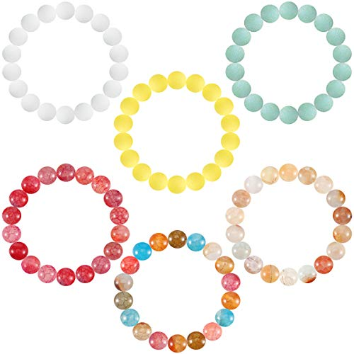 6 Pcs Lava Stone Bead Bracelet, Natural Gemstone Stretchy Bracelets- Aromatherapy Essential Oil Diffuser Healing Chakras Agate Crystal Elastic Lucky Bracelets Christmas gifts for Women Girls