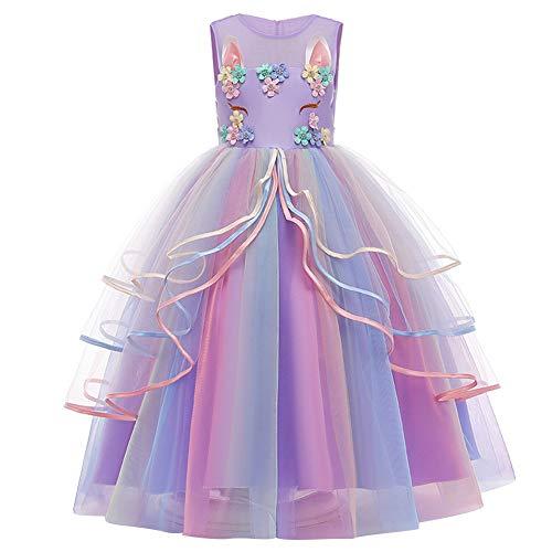 FYMNSI - Costume da unicorno, da bambina, da principessa, lungo, abito da sera, maxi vestito da damigella d'onore, da principessa, per feste di compleanno, da 4 a 15 anni viola. 4-5 Anni