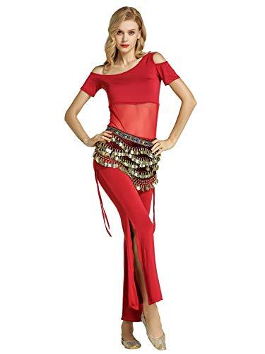 Zengbang Damen Bauchtanz Trainingskleidung Tanzbekleidung Bauchtanz Kostüm Latin Indian Langarm Top Hosenanzug (Wein Rot#1(3PCS), Asien L)