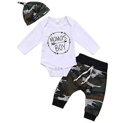 Geagodelia 3tlg Babykleidung Set Baby Jungen Langarm Body + Hose + Mütze Kleinkinder Neugeborene Weiche Warme Baumwolle Babyset Bekleidung (6-9 Monate, Mama's Boy (Weiß + Camouflage))