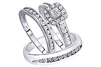 AFFY ホワイト天然ダイヤモンド 婚約&結婚トリオブライダルリングセット 10Kソリッドゴールド(1.2カラット総重量、I-Jカラー、I2-I3クラリティ)
