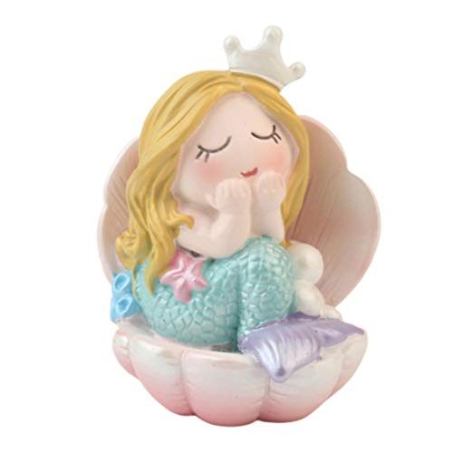 Vosarea Resin Mermaid Ornament Oyster Shell Mermaid Doll Figurine Cake Topper Desktop Crafts Statue Gift for Children Party