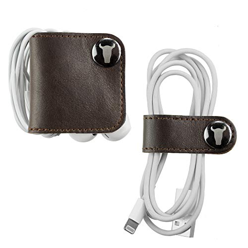 TORRO Genuine Leather Cable And Headphone Organiser (Pack of 2 Dark Brown)