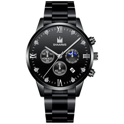 ZRSJ Reloj de cinturón de Acero de los Hombres Calendario de Negocios Cinturón de Relojes Relojes Hombres(w)