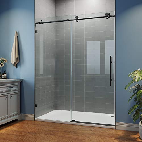 SUNNY SHOWER Glass Door Sliding Shower Enclosure with 3/8 in. Clear Glass Stainless Steel Hardware, 60 in. W x 76 in. H, Black Frameless Shower Door