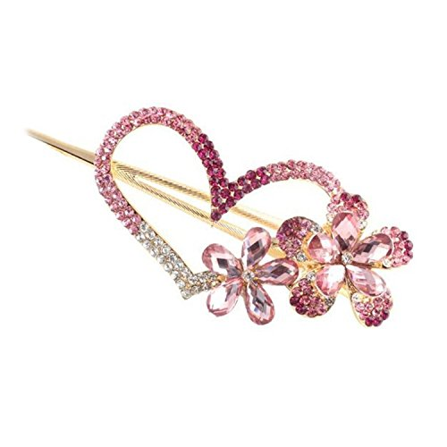 Vococal® Fashion Strass Fleur et Amour Coeur Design Cheveux Clips Goupille Peigne Barettes Cheveux Femmes Lady Accessoire Rose