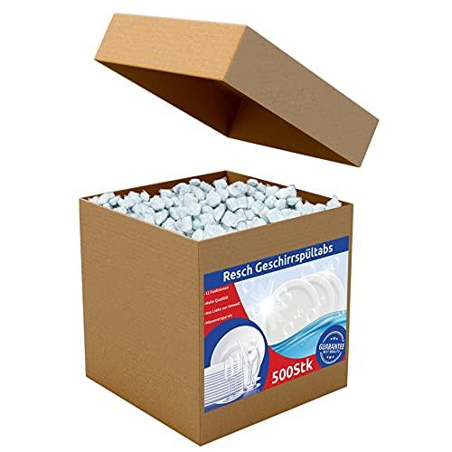 RESCH CLEANIX Spülmaschinentabs ohne Plastik - All in One | 500 Stück (ca 9 kg) | Phosphatfrei Tabs | Geschirrspültabs wasserlösliche Folie | Spültabs Spülmaschine