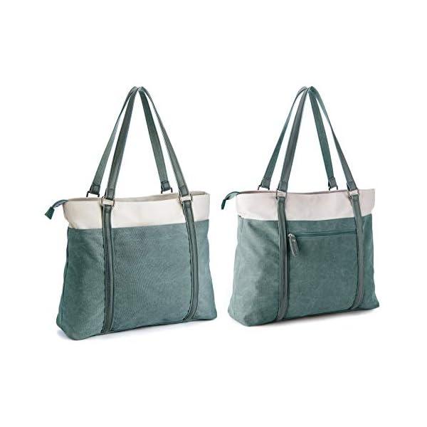 Women Laptop Tote Bag for Work Lightweight Splice Canvas 15.6 Inch Handbag Purse