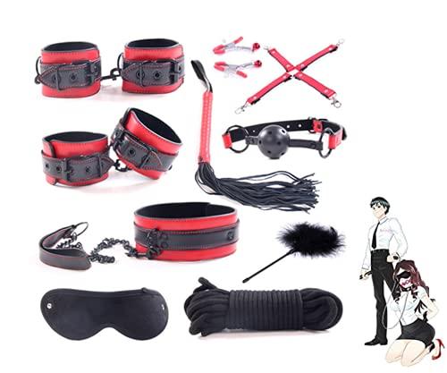 Kit de Entrenamiento de Plumas de látigo de Cuero Brillante para Montar, Negro Rojo