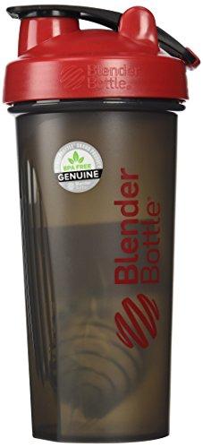 BlenderBottle Full Color Bottles - New Black Translucent Color with Shaker Ball - Red - 28oz