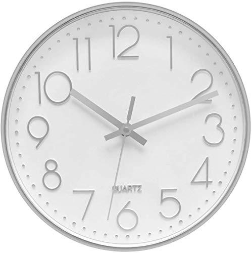 Foxtop Reloj de pared plateado silencioso de cuarzo sin garrapatas decorativo moderno reloj para sala de estar, hogar, oficina, escuela (25 cm)