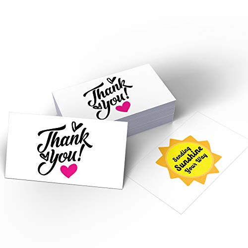 50 Thank You Sending Sunshine Your Way Thanks Cards (3.5 x 2 Inches) for Online Retail Store, Handmade Goods, Customer Package Inserts, Double-sided printing with different patterns