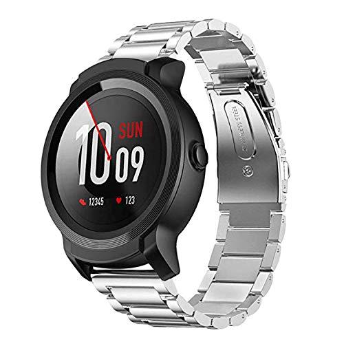 Aimtel per Ticwatch Pro cinturino in acciaio INOX, 22 mm metallo sostituzione fasce da polso accessori per tic orologio Pro (nero) (argento)