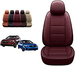 Oasis Auto 2012-2021 Impreza & Crosstrek Custom Fit Leather Seat Covers (12-16 Impreza & 13-17 Crosstrek, Burgundy)