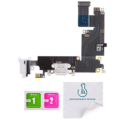 OmniRepairs Charging USB Dock Port Flex Cable Replacement with Microphone and Headphone Audio Jack Compatible for iPhone 6 Plus Model A1522, A1524, A1593 (White)
