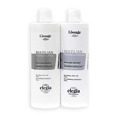 Maschera e Shampoo Lifting Lisciante alla Cheratina Brasiliano - Anticrespo - Privi Di Formaldeide e Parabeni - Per capelli Secchi - Trattamento Keratina 500ml - Elegia