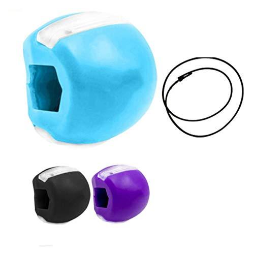 LEGAMARK ejercitador de mandíbula, tonificador facial maxilar, bolas de silicona para morder y ejercitar el doble mentón, dispositivo fitness de belleza. (Azul)