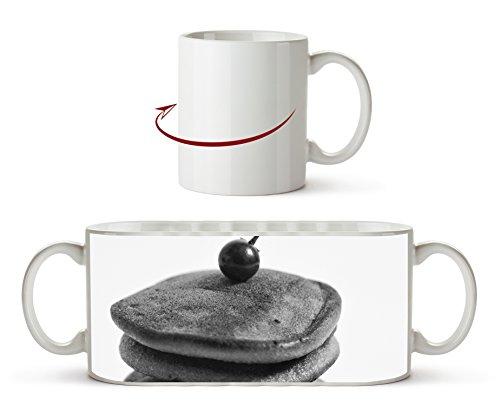 Dorayaki Pancakes con efecto de fruta: negro/blanco como taza de 300 ml, de cerámica blanca, ideal como regalo o su nueva taza favorita.