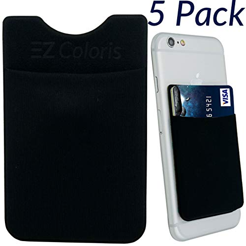 Card Holder EZColoris Cell Phone Credit Card Holder Flexible Lycra Pouch 3M Removable Adhesive Sticker on Wallet (Black-Set of 5)