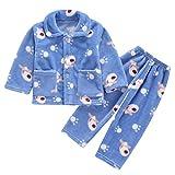 DEBAIJIA Bebé Ropa de Casa 0-12T Infantil Homewear Niños Pijama Niña Ropa de Dormir Niño Camisones Franela Calentar Invierno (Azul-6)