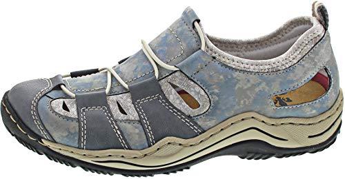 Rieker Damen L0561-12 Sneaker, Blau (Adria/Heaven/Silverflower 12), 36 EU