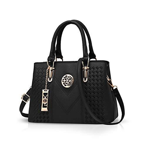 NICOLE & DORIS Damenhandtaschen Handtaschen Topgriffe Schultertasche Umhängetaschen klassische Handtaschen von Frauen Schwarz
