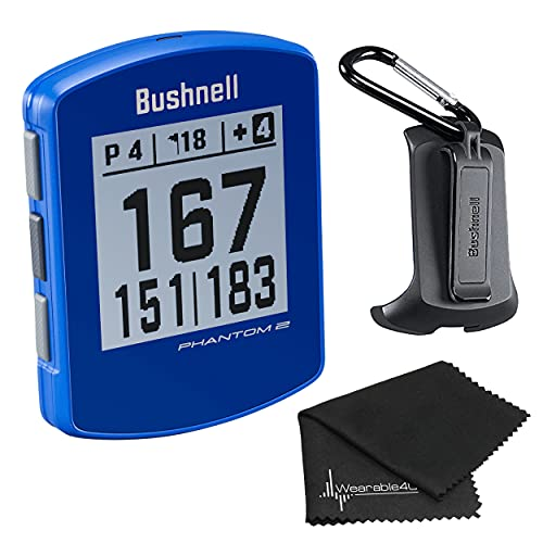 Bushnell Phantom 2 GPS Rangefinder Blue with BITE Magnetic Mount and GreenView with Wearable4U Lens Cleaning Cloth Bundle
