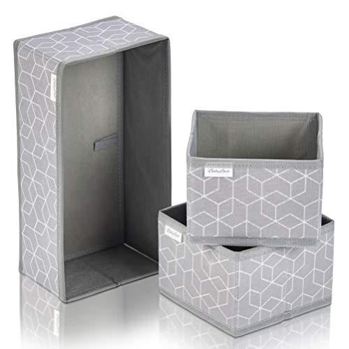 Babylovit 3er Set Aufbewahrungsbox - Faltbox für Bad, Wickelkommode - Aufbewahrung -Ordnungsbox - Schubladen Ordnungssystem - Bad Organizer & Deko