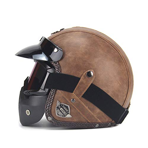 Parcclle Leather Brown Brain Cap · Casco de moto, casco de moto, scooter, scooter, chopper, retro, retro, vintage, piloto, cierre rápido