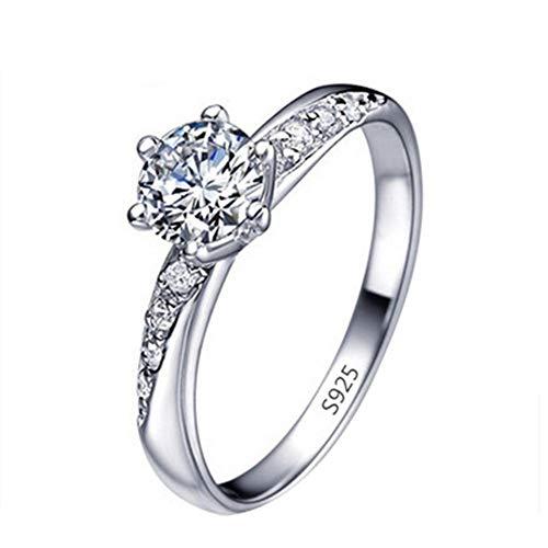 Renquen Elegante anillo de plata con incrustaciones de diamantes para mujeres y niñas.