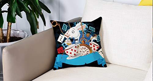 Square Soft and Cozy Pillow Covers,Black Alice in Wonderland ations, Rabbit Amazing with Motion Cups Hearts Rose Flower Personaje ,Funda para Decorar Sofá Dormitorio Decoración Funda de almohada.