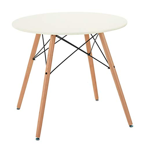Table Salle à Manger Ronde 2 à 4 Personnes - Pieds en Bois - Style Scandinave - Plateau Coloris blanc