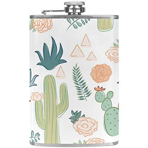TIZORAX cactus met bloemengras roestvrij staal heuptas wijn vlagon beker met lederen overtrek voor mannen vrouwen, 227 ml