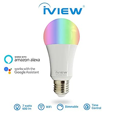 IVIEW-ISB600 Smart WiFi LED Light Bulb, Multi-color, Dimmable, No Hub Required, Free APP Remote Control, Compatible with Amazon Alexa & Google Assistant