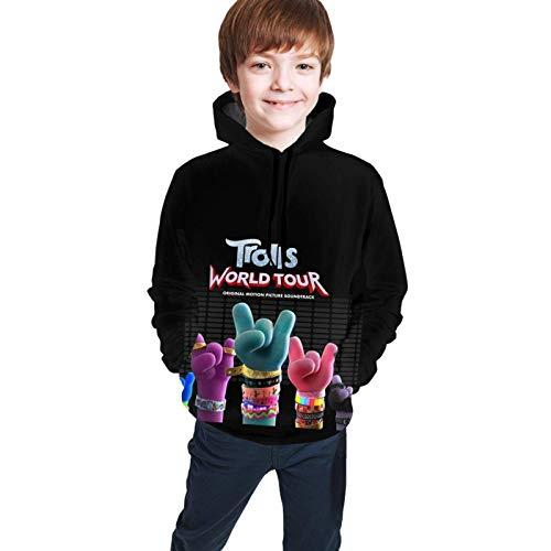 Teen Hip-Hop 3D gedruckt Pullover Kapuzenpullover mit Tasche lässig Top schwarz Tr-Olls Wo-Rld L
