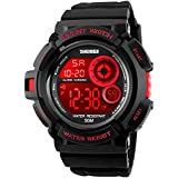 Fanmis Military Multi Function Digital LED Quartz Watch Water Resistant Electronic Sport Watches Red