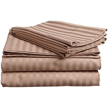 #1 Bed Sheet Set - HIGHEST QUALITY 100% Egyptian Cotton 800 Thread-Count Queen Size Wrinkle, Fade, Stain Resistant - 4 Piece 16  Drop -By Rajlinen  (Taupe Stripe, Queen)