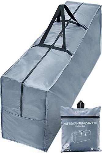 Chefarone Schutzhülle für Auflagen (125 x 50 x 32 cm) - Wasserabweisende Gartenpolster Aufbewahrung Tasche mit Tragegriff - 250D Polyester - inklusive Aufbewahrungsbeutel...