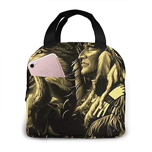Bolsas de almuerzo con estampado de lobo de nativos americanos, lonchera aislada para adultos para picnic, senderismo, viaje en la playa, organizador de...