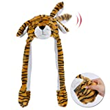 Hopearl Tiger Hat with Ears Moving Jumping Pop Up Beating Hat Plush Holiday Cosplay Dress Up Funny Gift for Kids Boys, Orange, 22''