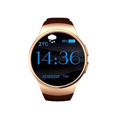 Smartwatch Android dameshorloge, smartwatch Android telefoon verbonden – Smartwatch Classic Dames – Smart Watch Android heren Fitness – goud, 128 + 64 MB ZX-kw18 uitgerust