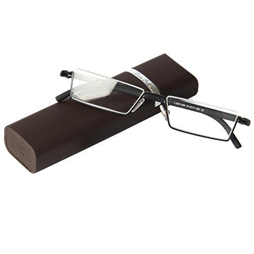 レンサン(LianSan)老眼鏡 アンダーリム 逆ナイロール 携帯用 TR90 超弾性 軽量 スクエア 薄型 コンパクトに収納 ユニセックス レディース メンズ リーディンググラス シニアグラス ケース付き 老眼鏡 L3801 (+2.50, ブラウン)