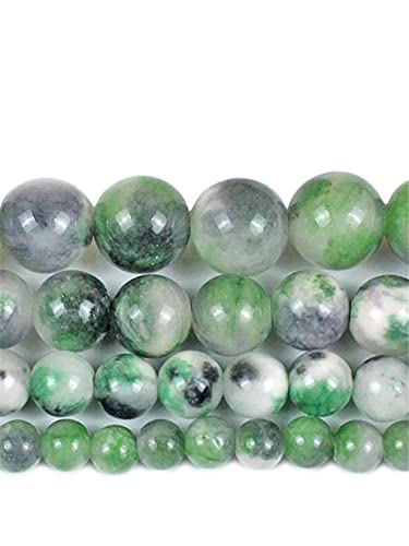 Piedra natural verde negro Jades cuentas redondas sueltas espaciadoras perlas 15 pulgadas Strand 6/8/10/12 mm para hacer joyas DIY pulsera verde 10mm aprprox 38beads