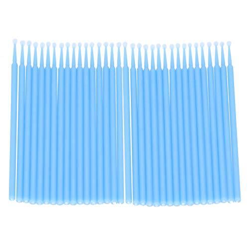 Minkissy 200 Pcs Micro Brosses Jetables Écouvillons Baguettes Micro Pointe Applicateurs Brosse à Mascara pour Extensions de Cils - Taille L (Bleu Ciel)