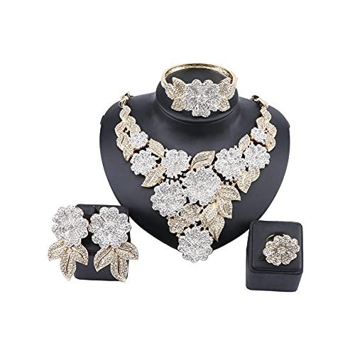XiaoG Boda de Mujer Bridal Crystal Flower Cluster Collar Colgante Pendientes Anillo Joyería Juego (Color : Color1)