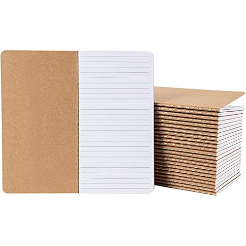Kraft Paper Notebook, Blank Lined Journal (4 x 8 in., 24 Pack)
